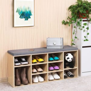 Banco zapatero songmics con cojin y gran capacidad para zapatos