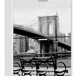 Suarez zapatero de diseño con 2 baldas e imagen de Nueva York