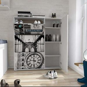 Zapatero de diseño Suarez con 3 baldas y compartimento para botas