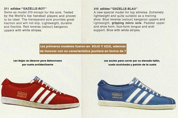 Las primeras Adidas Gazelle fueron en Rojo y Azul