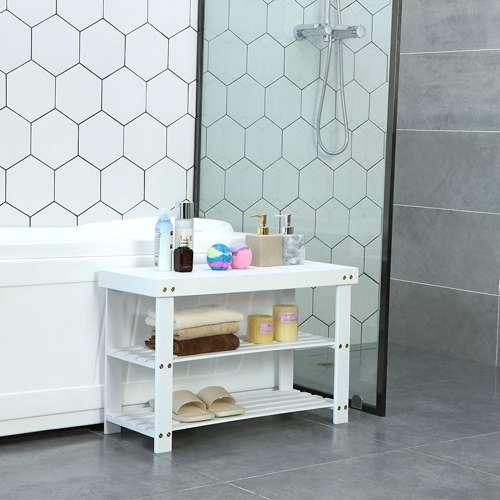 Zapatero de bambú con asiento Songmics resistente a la humedad es perfecto en el baño